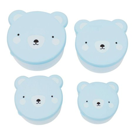 A Little Lovely Company Lunchtime snack box Bear blue plastic set of 4