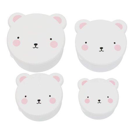 A Little Lovely Company Kinderbroodtrommel snack box Bear wit roze kunststof set van 4