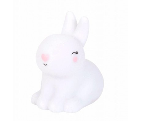 A Little Lovely Company Kinderlampje konijn Bunny wit roze 8x13x13cm