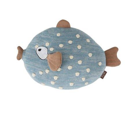OYOY Kinderkussen vis Little Finn blauw 23x30cm