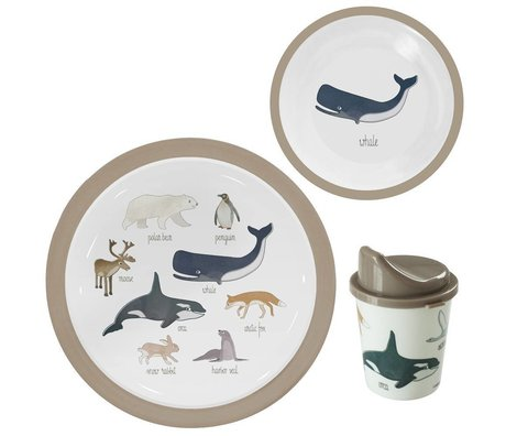 Sebra Kinderservies Arctic animals lichtbruin melamine set van 3