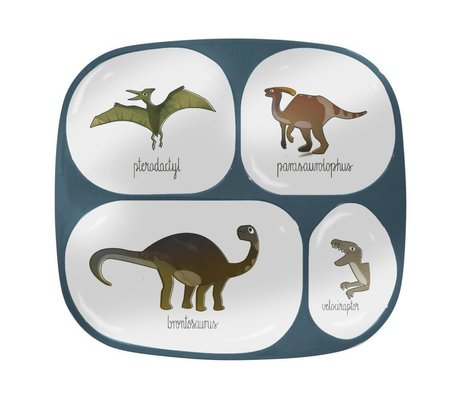 Sebra Children's board four boxes Dino blue melamine 24x21x2cm