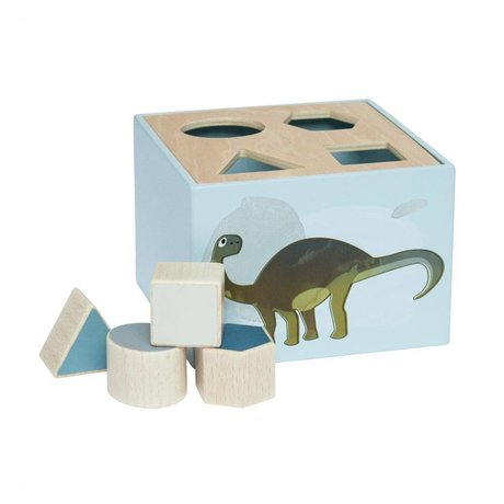 Sebra Vormenstoof Dino blauw hout 14x14x10cm