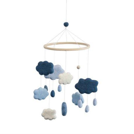 Sebra Mobiel Clouds blauw wol ø22x57cm