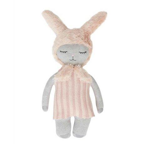 OYOY Knuffel Hopsi bunny roze grijs 47x24cm