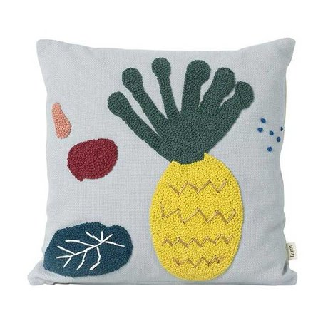 Ferm Living kids Throw pillow Pineapple Fruiticana blue cotton canvas 40x40cm