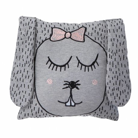 Ferm Living kids Kinderkussen/Knuffel Little Ms. Rabbit grijs 30x30cm