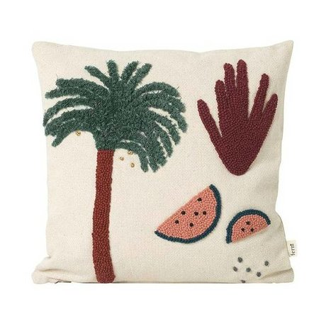 Ferm Living kids Throw pillow Palm Fruiticana cream cotton canvas 40x40cm