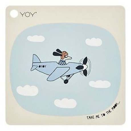 OYOY Kinderplacemat Take me to the moon creme silicone 38x38cm