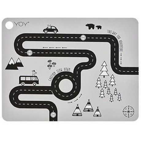 OYOY Kinderplacemat Adventure grijs silicone 45x34x0,15cm