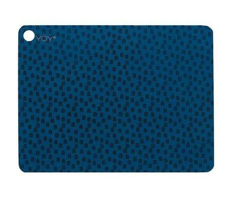 OYOY Kinderplacemat muni set van twee blauw zwart silicone 45x34x0,15cm