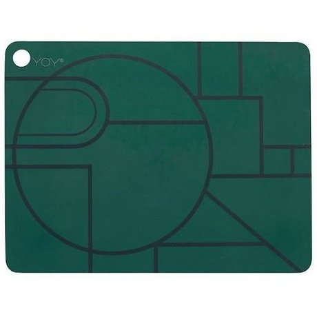 OYOY Kids Placemats Ponyo set of two dark green black silicone 45x34x0,15cm