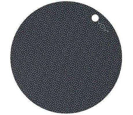 OYOY Kids Placemat Dot Print white dark gray sillecone set of two 39x0,15cm