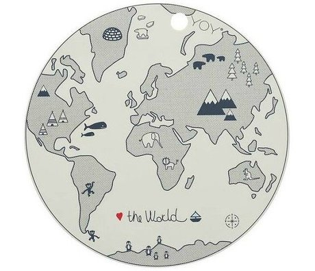 OYOY Kinderplacemat The World grijs silicone 39x0,15cm