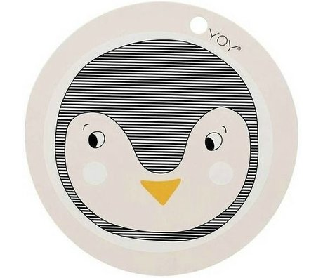 OYOY Kinderplacemat Pinguin roze siliconen 39x0,15cm