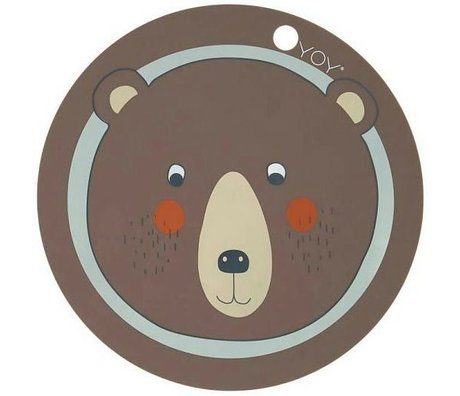 OYOY Kids Placemats Bear Brown Silicone 39x0,15cm