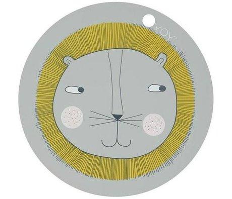 OYOY Kinderplacemat Leeuw grijs siliconen 39x0,15cm