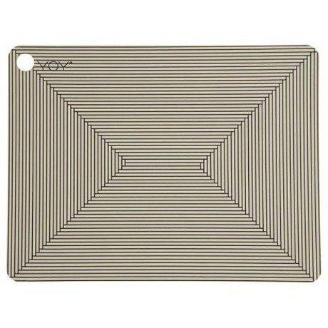 OYOY Kinderplacemat CLAY bruin zwart silicone set van twee 45x34x0,15cm