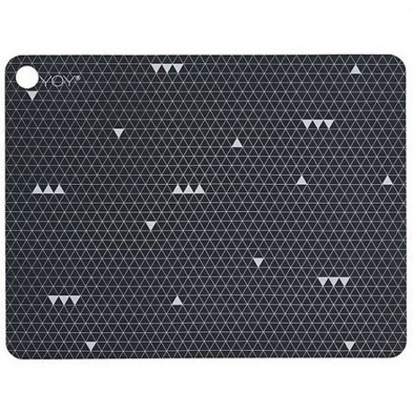 OYOY Kinderplacemat GREY LINE grijs silicone set van twee 45x34x0,15cm