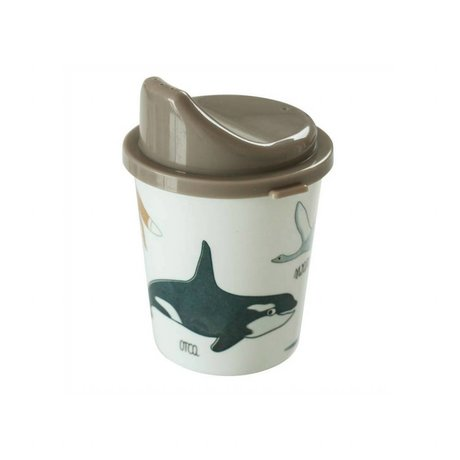 Sebra Spout cup Arctic animals light brown melamine ø7x11cm