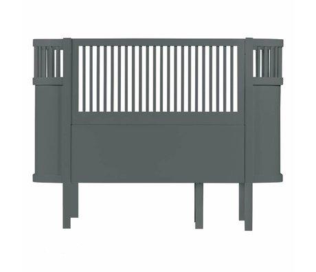 Sebra Meegroeibed Baby & Junior donker grijs hout 112,5-155x70x88cm