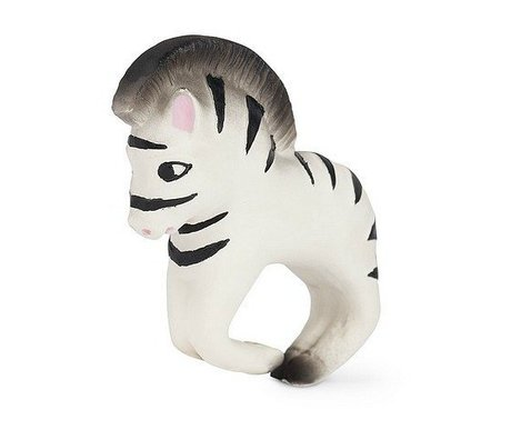 Oli & Carol Bath toy and teething toy bracelet zebra black white natural rubber 8x10cm