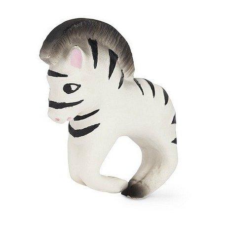Oli & Carol Badspeeltje en bijtspeeltje armband zebra zwart wit natuurlijk rubber 8x10cm