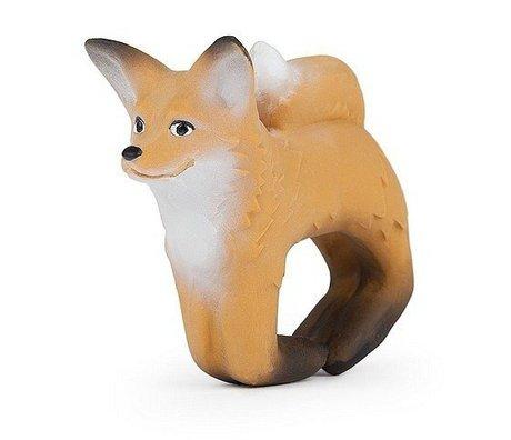 Oli & Carol Badspeeltje en bijtspeeltje armband vos bruin natuurlijk rubber 8x10cm