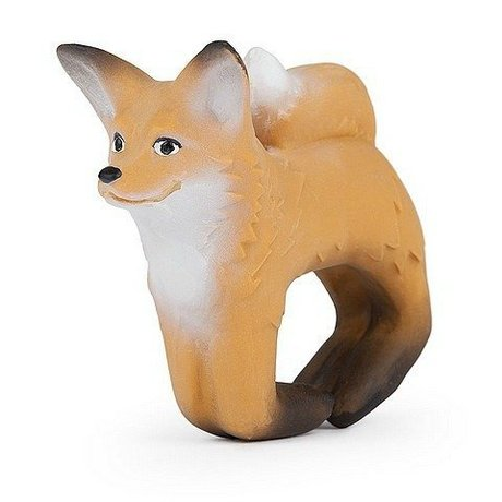 Oli & Carol Bath toy and teething toy bracelet fox brown natural rubber 8x10cm