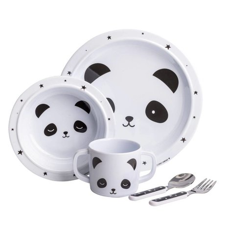 A Little Lovely Company Kinderservies panda set zwart wit