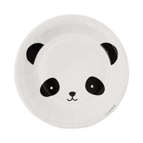 A Little Lovely Company Paper plates Panda black white 22,6x2,2x22,6cm set of 12