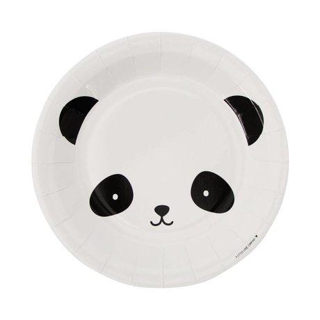 A Little Lovely Company Papieren feestbordjes panda zwart wit 22,6x2,2x22,6cm set van 12