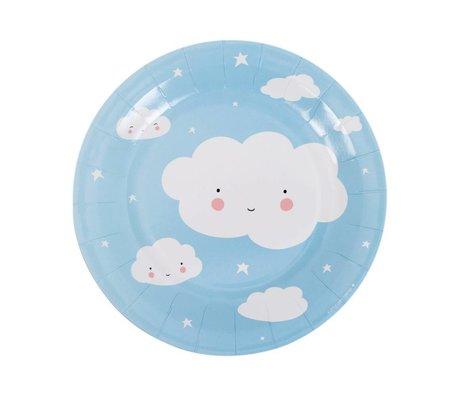 A Little Lovely Company Papieren feestbordjes wolk blauw wit 22,6x2,2x22,6cm set van 12