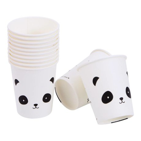 A Little Lovely Company Paper cups Panda black white 7,4x8,6x7,4cm set of 12