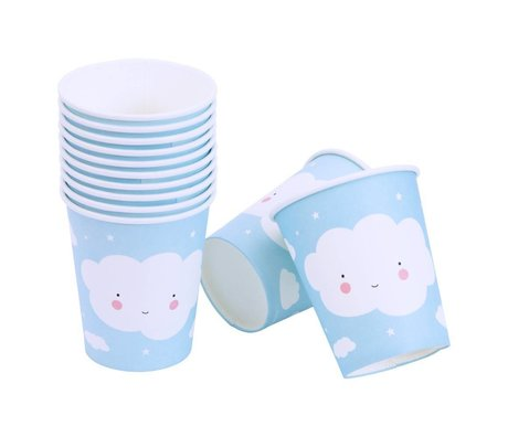 A Little Lovely Company Paper cups Cloud blue white 7,4x8,6x7,4cm set of 12