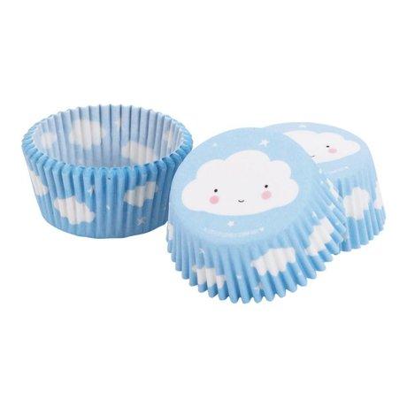 A Little Lovely Company Cupcake vormpjes wolk blauw 7x3x7cm set van 50