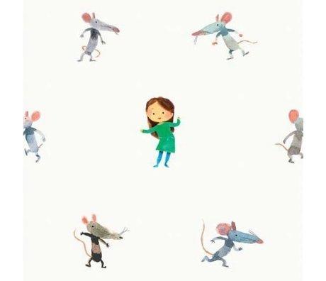 KEK Amsterdam Kinderbehang Little mice multicolor vliespapier 97,4 x 280cm