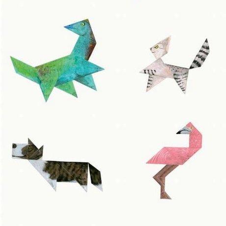 KEK Amsterdam Kinderbehang Tangram Animals multicolor vliespapier 97,4 x 280cm