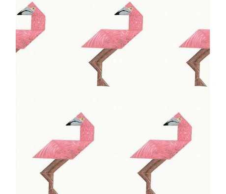 KEK Amsterdam Children wallpaper Tangram Flamingo multicolor non-woven paper 97,4 x 280cm