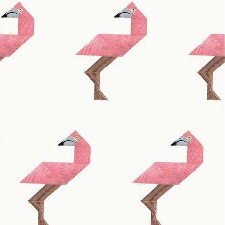 KEK Amsterdam Kinderbehang Tangram Flamingo multicolor vliespapier 97,4 x 280cm