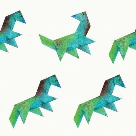 KEK Amsterdam Kinderbehang Tangram Dino multicolor vliespapier 97,4 x 280cm