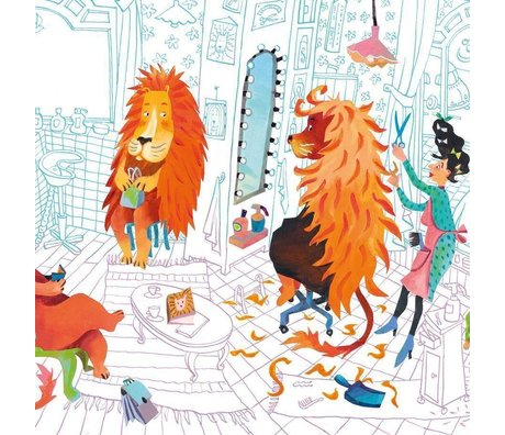 KEK Amsterdam Kinderbehang Lion's haircut multicolor vliespapier 389.6 x 280 (8 sheets)