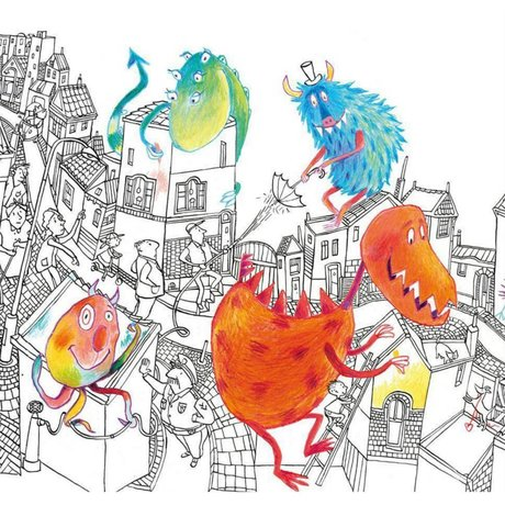 KEK Amsterdam Children's wallpaper Monsters multicolor non-woven paper 292.2 x 280 (6 sheets)