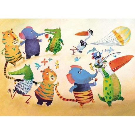 KEK Amsterdam Children wallpaper Dancing animals multicolor fleece paper 389.6 x 280 (8 sheets)