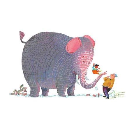 KEK Amsterdam Children's wallpaper Concrete elephant multicolor non-woven paper 292.2 x 280 (6 sheets)