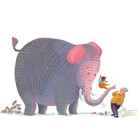KEK Amsterdam Kinderbehang Concrete elephant multicolor vliespapier 292.2 x 280 (6 sheets)