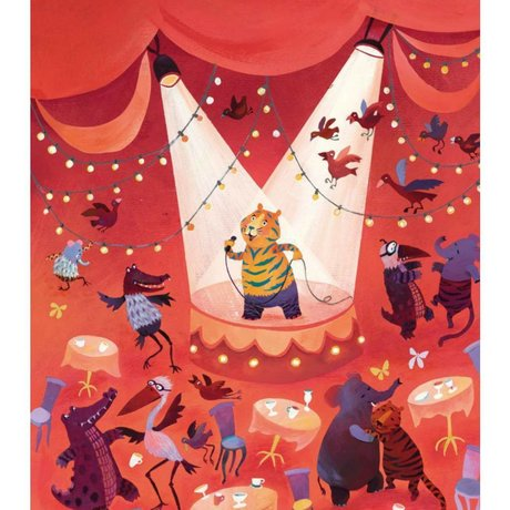 KEK Amsterdam Children's wallpaper Karaoke tiger multicolor fleece paper 243.5 x 280 (5 sheets)