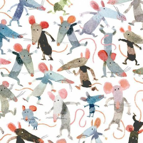 KEK Amsterdam Children's wallpaper Little mice multicolor non-woven paper 292.2 x 280 (6 sheets)