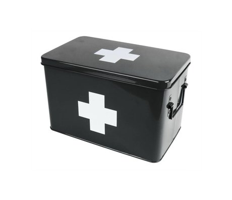 pt, Medicine box black metal 31,5x19x21cm