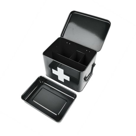 pt, Medicine storage box black metal 21,5x15,5x16cm